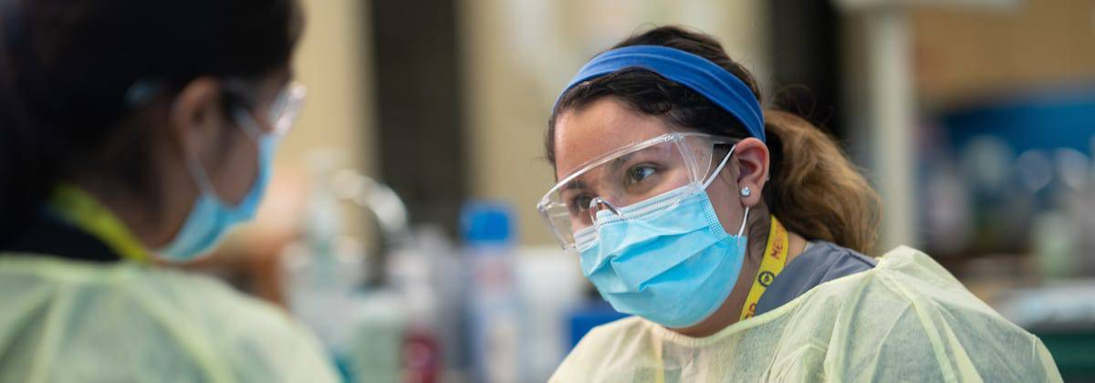 Dental Hygiene Student working with mask on